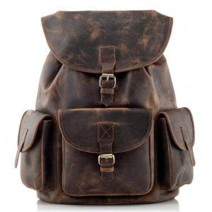 plecak skorzany z kieszeniami ciemnobrązowy B33