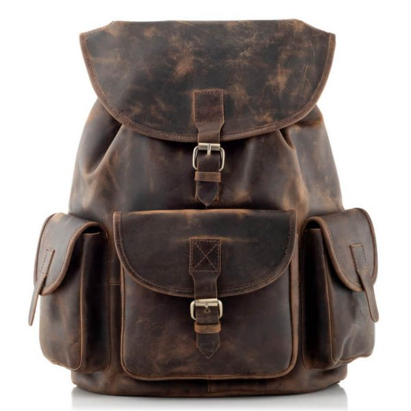 Plecak Skórzany z Kieszeniami Ciemnobrązowy B33