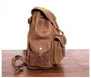 plecak skorzany z kieszeniami jasnobrązowy B33-2