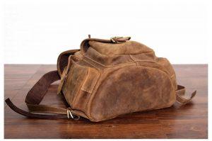 plecak skorzany z kieszeniami jasnobrązowy B33-4