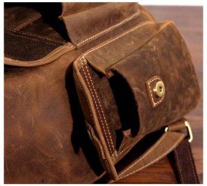 plecak skorzany z kieszeniami jasnobrązowy B33-5