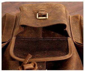 plecak skorzany z kieszeniami jasnobrązowy B33-6